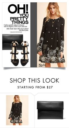 """""""Black Retro Circle Print Tunic Dress 2426"""" by boxthoughts ❤ liked on Polyvore featuring Marni and Prada"""