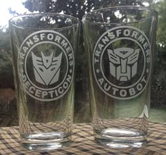 Transformers Matching Etched Drinking glasses by UnCorkdArt
