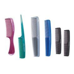 Vidal Sassoon Family 6 Pack Of Combs, 6 Count by Vidal Sassoon. $3.49. Package includes 6 combs-1 of each comb. Great for all hair types. Vidal Sassoon Family 6 Pack of combs has a comb for every hair style. Comb styles include large teeth with handle, small teeth with pik handle, 2 large multi-purpose combs with fine and wide teeth, and 2 small combs with fine and wide teeth. Colors include red, green, grey, blue, and 2 black combs. Vidal Sassoon Family 6 Pack of ...