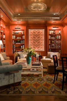 New York City Penthouse - Library/Media Room | Gary McBournie, Inc. ᘡղbᘠ