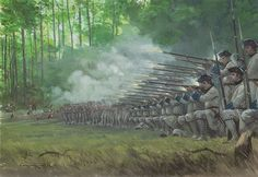 Battle of Lake George. French forces attack the British camp at Lake George on 8th September 1755, with regular troops of the Languedoc and La Reine regiments firing by platoons while Canadians and Indians fire from the cover of the trees. (Graham Turner)