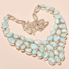 """ROYAL LOOK CARIBBEAN LARIMAR LOVELY GIFTED - 925 SILVER JEWELRY NECKLACE 18"""" #Unbranded #Choker"""