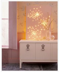 paint canvas black then push the white Christmas lights through to look like stars.  Great night light!