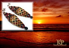"Micro macrame earrings ""Sunset"""