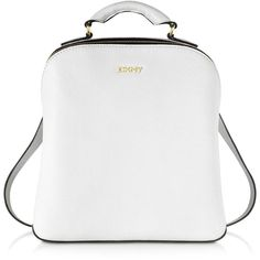 DKNY White Fine Pebble Leather Mini Backpack ($368) ❤ liked on Polyvore featuring bags, backpacks, miniature backpack, hardware bag, pebbled leather backpack, white rucksack and mini rucksack