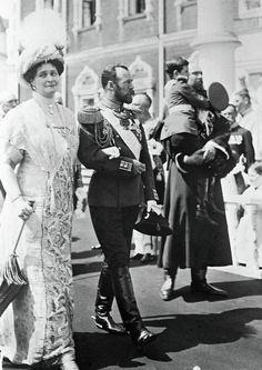 Russian Emperor Nicholas II, center, Empress Alexandra Fyodorovna, left, and Crown Prince Alexei, right. The Romanov House 300th anniversary celebrations in the Kremlin