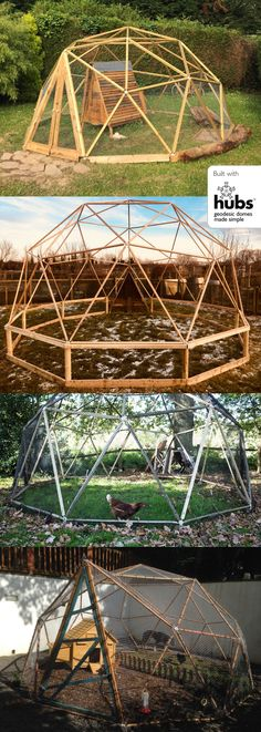 Chicken runs built with the hubs DIY dome kit. Geodesic Dome Greenhouse, Geodesic Dome Homes, Greenhouse Gardening, Falling Water Architecture, Chickens In The Winter, Great Buildings And Structures, Modern Buildings, Dome Structure, Garden Cabins