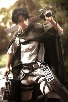 Levi cosplay, Attack on Titan (Shingeki no Kyojin) Holy mother Teresa on the hood of a Mercedes Benz
