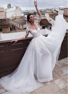 Magbridal Marvelous Tulle & Organza Jewel Neckline 2 In 1 Wedding Dresses With Detachable Skirt & Lace Appliques & Beadings 2 In 1 Wedding Dress, Detachable Wedding Dress, Wedding Dress Organza, Stunning Wedding Dresses, Wedding Dress Sleeves, Dream Wedding Dresses, Bridal Dresses, Beautiful Dresses, Wedding Gowns