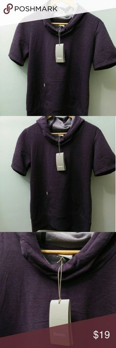 SHORT SALE! Women's Bench Active Wear Hoodie Top NWT. Women's Bench Active Wear Hoodie Top, short sleeve pullover with front pockets. Size: Large Color: Mauve (Deep Purple) Brand: Bench Multipurpose City Clothing Bench Tops Sweatshirts & Hoodies