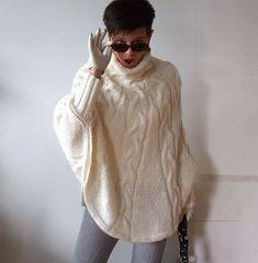 Poncho de punto mano trenzado Jersey cape moda de otoño