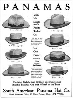 vintage panama hat styles workwear ad advertisement See other ideas and pictures from the category menu…. Moncler, Moda Do Momento, Mode Costume, Retro Mode, Caps Hats, Men's Hats, Straw Hats, Fedora Hats, Straw Fedora
