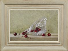 Stephen Rose (1960- ), A bag of cherries, oil on canvas, 30.5 x 45.7 cm.  Reproduction 20th century Continental artist's convex frame with painted finish