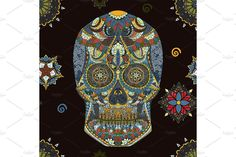 Day Of The Dead sugar Skull seamless pattern mexican decoration vector tattoo, skeleton hand drown - Illustrations - 1
