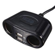 Doble adaptador del cargador de puertos de usb + 2 camino divisor del enchufe del encendedor de coches