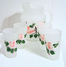 Anchor Hocking - Frosted Pitcher & Glasses Set - Roses - 5 pc Set