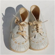 Precious Moments  vintage baby shoes white ivory by secondseed, $8.00