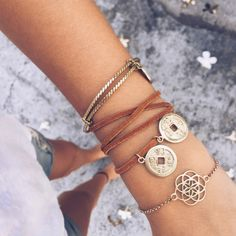 You can never wear too many bracelets - Especially when you can combine a wrap bracelet, a cuff and a delicate Mandala-Bracelet which fit perfectly together.  >>  Boho jewelry handmade in Bali