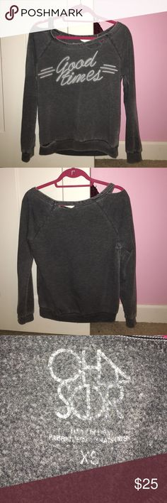 Chaser Good Times Distressed Pullover Very cute and cozy, perfect for fall and winter! Size XS. Meant to be distressed. Price is 100% negotiable. Open to trades and offers. Chaser Sweaters Crew & Scoop Necks