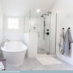 Bathroom Renos, Bathroom Flooring, Bathroom Renovations, Small Bathroom, Bathroom Ideas, Hexagon Tile Bathroom Floor, White Bathroom, Master Bathroom Layout, Bathroom Updates