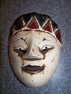 Antique Indonesian Hand Carved and Painted Wooden Folk Art Mask Fantastic Look