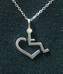 Sterling Silver Wheelchair Heart Necklace 3E Love