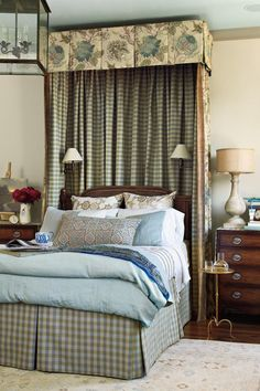 Master Suite Canopy Bed - Senoia Georgia Idea House Tour - Southernliving. A lovely canopy frames the traditional bed, adding dramatic height and making it a true focal point in the room.