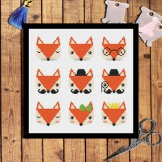 Nine cute fox cross stitch pattern Modern cross stitch pattern Animals cross stitch pattern Fox embroidery design Cross stitch Animals par AnnaXStitch sur Etsy https://www.etsy.com/fr/listing/477481443/nine-cute-fox-cross-stitch-pattern