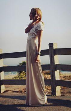 Long pastel pink maxi dress w/ white top