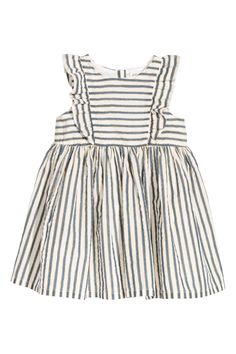 Striped Cotton Dress | White/gold-colored stripes | KIDS | H&M US