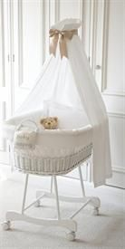 Simple White Wicker Crib with canopy