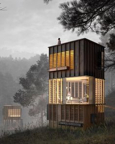 Vertical Habitat 🖤 Render b Tiny House Cabin, Tiny House Design, Residential Architecture, Architecture Design, Casas Containers, Container Architecture, Tower House, Micro House, Prefab Homes