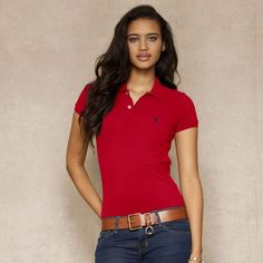 Ralph Lauren Skinny-Fit Polo Shirt Red Outlet Online Red Polo Shirt Outfit 4277972d346