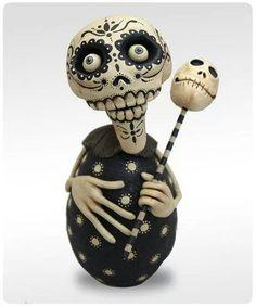 Dia De Los Muertos - Black and White Skelly by chicken lips folk art use for inspiration Theme Halloween, Holidays Halloween, Halloween Crafts, Halloween Cookies, Halloween Decorations, Happy Halloween, Toy Art, Memento Mori, Samhain