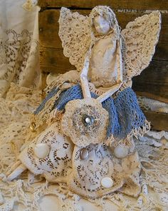 Angel Art Doll Handmade of Paper Clay Fabric Body Vintage
