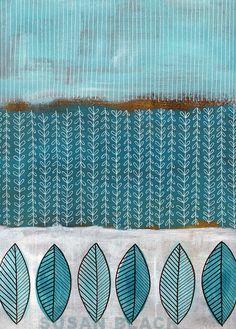 from the archives - blue leaves - acrylic paint & gel pens on kraft cardboard - Susan Black 2010 susan black design Textile Pattern Design, Surface Pattern Design, Textile Patterns, Textile Prints, Flower Patterns, Print Patterns, Pattern Designs, Art Journal Pages, Art Journaling