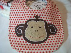 Baby Bib and Burp cloths Set   Sock  Monkey Bib  by PeaPodLilFrogs, $25.00