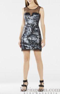 1a9e3967ad63 Abigall Sheer Neck Sequined BCBG Cocktail Dress Bcbg Dresses, Evening  Dresses, Necklines For Dresses