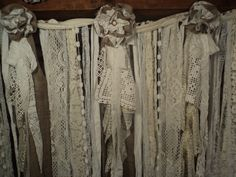 Vintage, lace and fabric wedding banner, garland, shabby chic.  Ebay