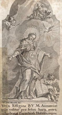 German baroque engraving of Mary's conception of Jesus