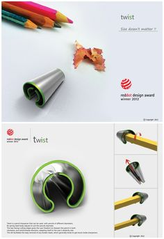 Twist by Abhishek Anupam / For different pencil size / red dot design concept 2012 winner Presentation Board Design, Red Dot Design, Cool Inventions, Smart Design, Schmuck Design, Red Dots, Stationery Design, Design Thinking, Design Awards
