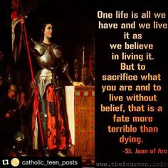 "#Repost @catholic_teen_posts  ""One of five children born to Jacques dArc and Isabelle Romee. Shepherdess. Mystic. From age 13 she received visions from Saint Margaret of Antioch Saint Catherine of Alexandria and Michael the Archangel.  In the early 15th century England in alliance with Burgundy controlled most of what is modern France. In May 1428 Joans visions told her to find the true king of France and help him reclaim his throne. She resisted for more than three years but finally went…"