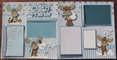 Winter/Christmas scrapbook page layout 12x12- Making New Friends. $34.99, via Etsy.