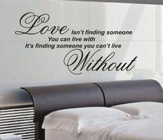 Love isn't finding wall art sticker quote - 4 sizes - Bedroom wall stickers wa07   eBay