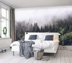 Misty forest scene mural Mountain forests mural Forest Haze