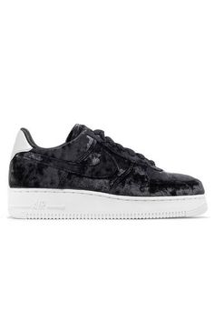 NIKE Air Force 1 metallic faux leather-trimmed crushed-velvet sneakers. #nike #shoes #