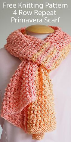 Free Knitting Pattern for 4 Row Repeat Primavera Scarf - Two color scarf with a 4 row repeat in solid sections and stripes with 2 strands of sport yarn held together. Designed by Mouton Rouge. Available in English and Dutch. Easy Scarf Knitting Patterns, Loom Knitting, Free Knitting, Knitting Stitches, Crochet Patterns, Knitting Ideas, Knitting Projects, Stitch Patterns, Dishcloth Knitting Patterns