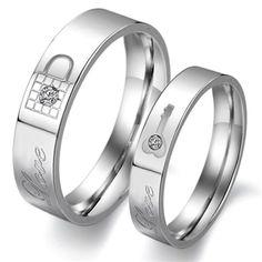 Lock And Key Titanium Steel Couple's Ring Set Valentine's Gift, Anniversary Gift - Yoyoon.com