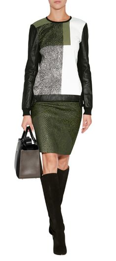 Green reptile skirt and reptile print top to firing it together.