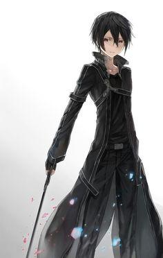Nico di Angelo anime style -Other person Me: *face palm* That's Kirito from Sword Art Online. Arte Online, Kunst Online, Online Art, Sword Art Online Kirito, Espada Anime, Anime Quotes Tumblr, Anime Body, Hot Anime, Anime Pokemon